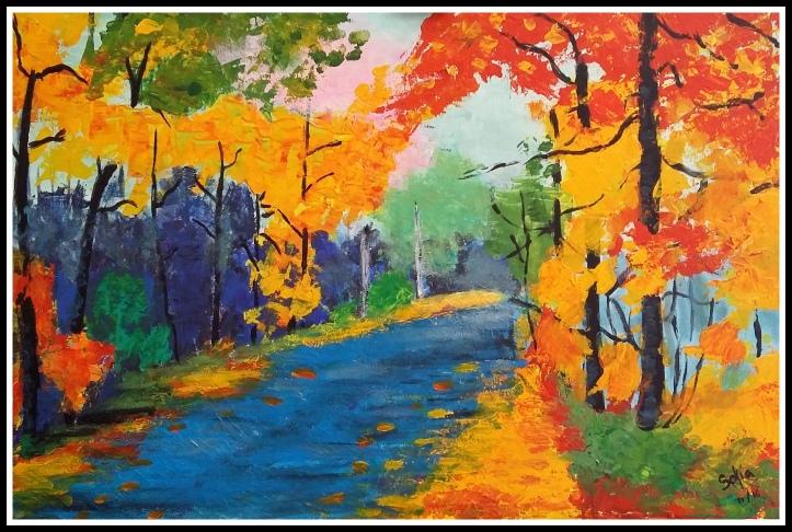 Sofia P 11 años pinta paisaje Leonid Afremov para niños.jpg