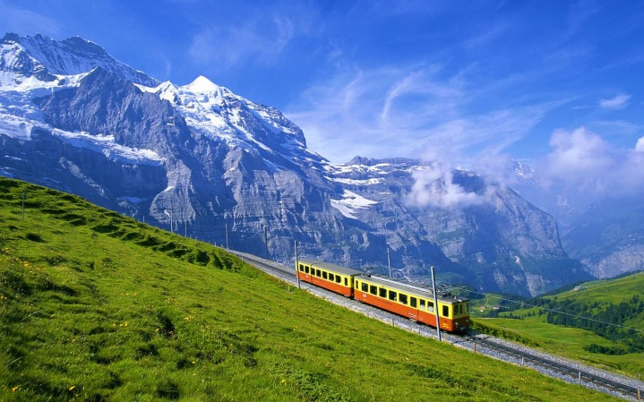 Train in Junfdrau Bernese Alps Switzerland