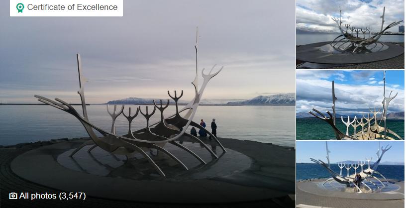The Sun Voyager (Icelandic: Sólfar) is a sculpture by Jón Gunnar Árnason, located next to the Sæbraut road in Reykjavík, Iceland.